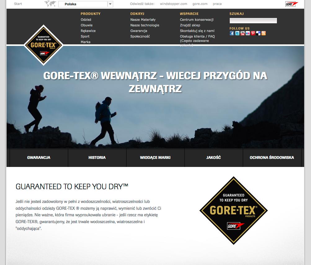 Zrzut ze strony GORE-TEX.pl
