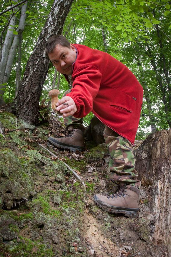 Borowik znaleziony na stromym zboczu