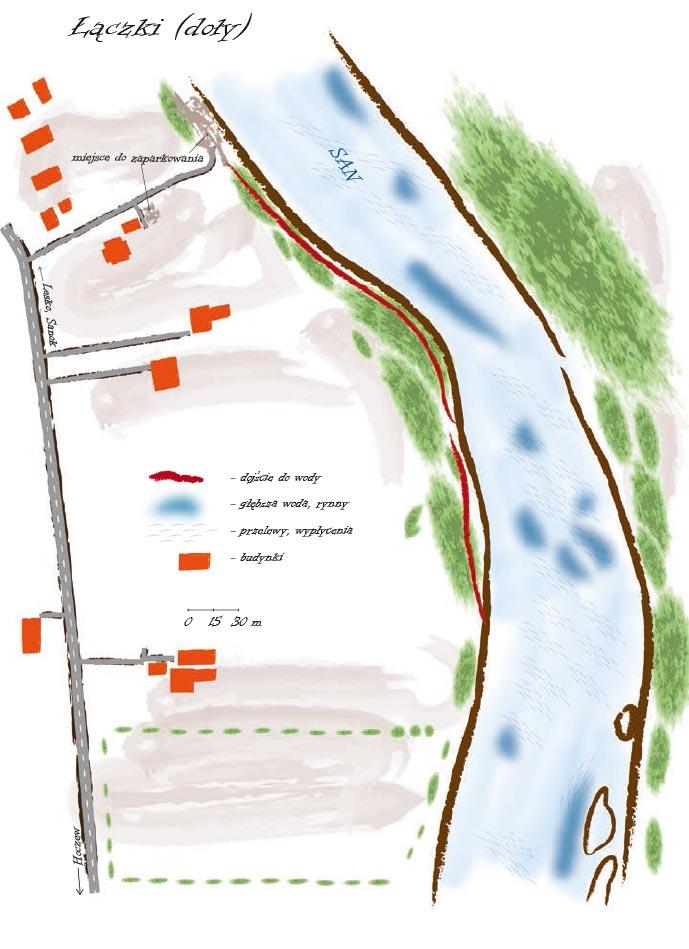 """Mapka pokazująca odcinek rzeki nazwany """"Łączki"""""""
