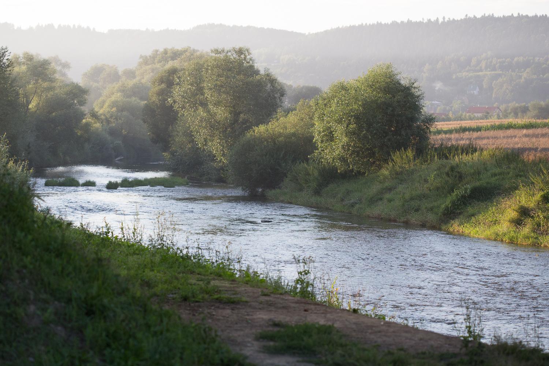 Mała płytka rzeka z kleniowymi miejscami